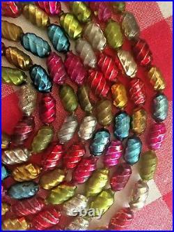 Vintage Christmas Ornament Mercury Glass Multi Color Barrel Beads Garland 105