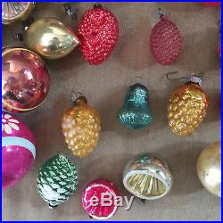Vintage Christmas Ornaments Mercury Glass Indent Basket Pinecone Grape Lot of 49
