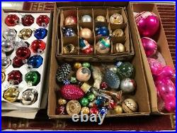 Vintage Christmas Ornaments, glass balls, large lot, angels, and more TAKE LOOK
