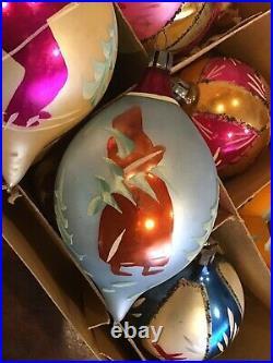 Vintage Christmas Poland Hand Painted Glass Ornaments IOB Santa Skiers