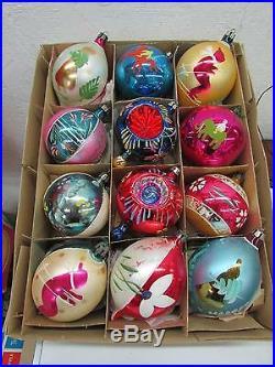 Vintage Christmas Poland Hand Painted Indent Glass Ornaments IOB Santa Skiers