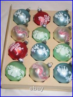 Vintage Christmas Satin Pastel Shiny Brite Glass Mica Stencil Ornaments IOB T11
