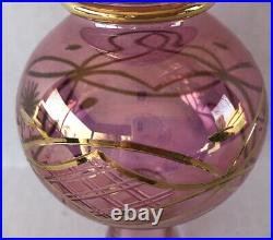 Vintage Christmas Tree Topper Ornament Final Cranberry Glass Gold Paint 11 1/2