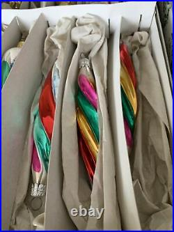 Vintage Christmas West Germany Glass Striped Icicle Tree Ornaments Lot 12