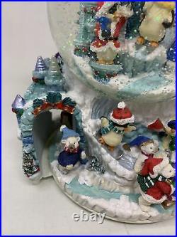Vintage Christmas Winter Wonderland Large Musical Snow Globe with Revolving Base