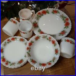 Vintage Christmas dish set Milk glass pyrex Indopal Poinsettia set for four