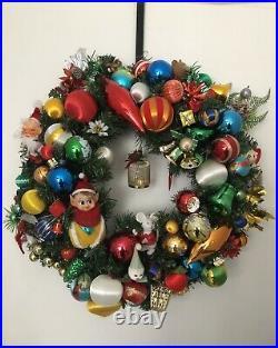 Vintage Christmas wreath retro collectible baubles ornament elf mercury glass