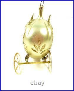 Vintage De Carlini Gold Glass Cinderella Carriage Italy Christmas Ornament mnd