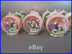 Vintage Diorama Easter / Christmas Ornaments Set 12 Glass balls Poland Italy