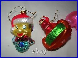 Vintage Disney Little Mermaid Ariel & Friends Blown Glass Ornament Rare Set of 6