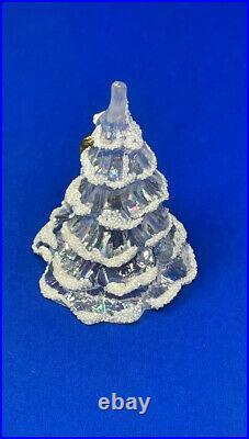 Vintage Fenton Snow Flocked Iridescent Glass Christmas Tree Gold Bird 2 X 3