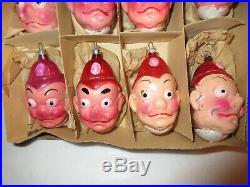 Vintage German Blown Glass Keystone Cop Comic Head Christmas Ornaments-Box of 12