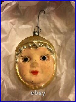 Vintage German Figural Baby Head Blown Glass Ornament withGlass Eyes CH23