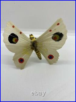Vintage German Moth Butterfly Spun Glass Wings feather Tree Ornament