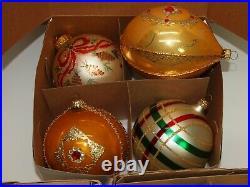 Vintage Glass Xmas Ornaments Set of 12 JUMBO Balls Hand Painted European