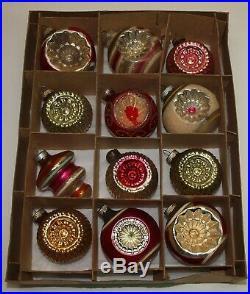 Vintage Glass Xmas Ornaments Set of 12 SHINY BRITE Bumpy Double Indents Mica Etc