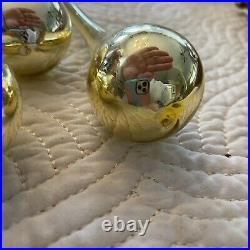 Vintage Gold Mercury Glass Icicle Tear Drop Christmas Ornaments Teardrop Golden