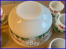 Vintage Hazel Atlas Christmas Egg Nog Set 6 Mugs Red Green Punch Bowl Milk Glass
