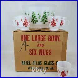 Vintage Hazel Atlas Christmas Trees Egg Nog Punch Bowl Set 5 Mugs w Original Box