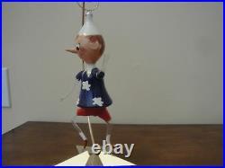 Vintage Italian Blown Glass Christmas Ornament Boy with Blue Flowered Shirt