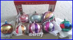Vintage JUMBO Poland Glass Christmas Ornaments Mica Glitter Santa in Box