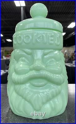 Vintage Jade Santa Claus Cookie Jar Cracker Barrel Glass Christmas Nice
