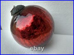 Vintage KUGEL Ball Christmas Ornament Mercury Heavy Glass Crackle Design 6