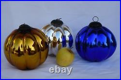 Vintage LARGE Silver Kugel Christmas Ornament Ribbed Grey Mercury Glass