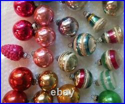 Vintage Lot 36 Shiny Brite Glass Ornaments with 3 Boxes Mercury 1-3/4 and 2