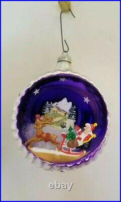 Vintage MERCURY GLASS DIORAMA INDENT Santa Sleigh CHRISTMAS ORNAMENT Italy 3.5