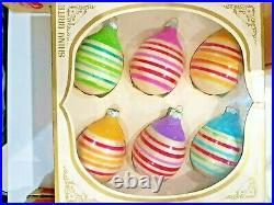 Vintage Mercury Glass Christmas Mica Ornaments Shiny Brite UFO Egg Striped IOB