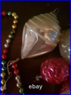 Vintage Mercury Glass Christmas Tree Garland Ornaments MCM 1950s 1960s Antique