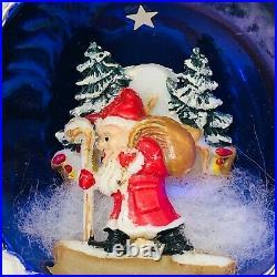 Vintage Mercury Glass Diorama Christmas Ornament Santa with Bag Walking Italy