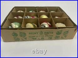 Vintage Mercury Glass Indent Atomic Tornado Mica Christmas Ornaments Shiny Brite