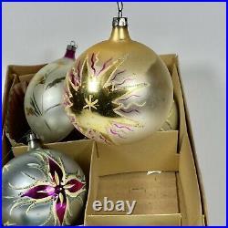 Vintage Mercury Glass Jumbo Hand Painted Mica Teardrop Round Ornament Poland LOT