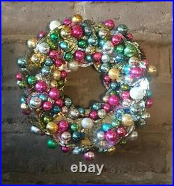 Vintage Mercury Glass Tin Can Handmade One Of A Kind Christmas Wreath 12