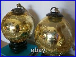 Vintage Mercury Heavy Crackle Glass Kugel Gold Christmas Ornament 3