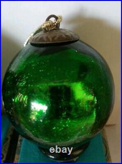 Vintage Mercury heavy Crackle Glass Kugel Green Christmas Ornament 3