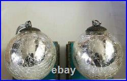 Vintage Mercury heavy Crackle Glass Kugel Silver Christmas Ornament 3