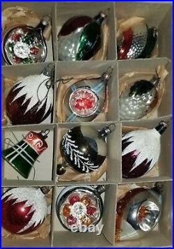 Vintage Mica German Indent Figural Tear Drop Mercury Glass Ornaments