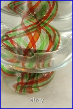 Vintage Murano Italy Saks 5th Ave 8 Clear Green Red Art Glass Christmas Tree