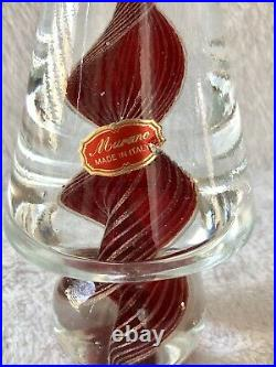 Vintage Murano Red & Gold Swirl Vortex Cased Art Glass Christmas Tree With Sticker