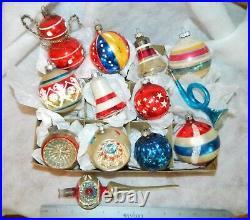 Vintage PATRIOTIC Glass Christmas Ornaments Poland Germany USA Etc. + TOPPER