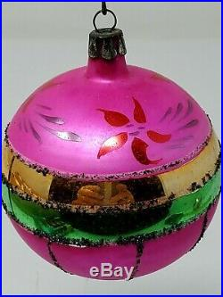 Vintage Poland Colorful Glass Christmas Ornaments Mica Hand Painted Box Of 12 QQ