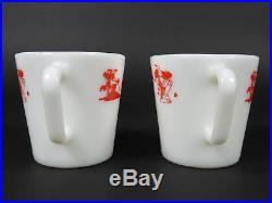 Vintage Pyrex 1410 Red Merry Christmas Santa Mugs Pair White Milk Glass