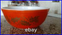 Vintage Pyrex Red Christmas Gold Leaf Holly Berry Large Bowl
