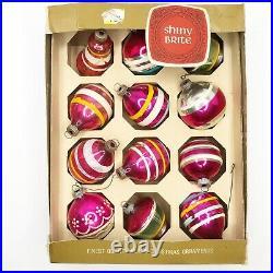 Vintage Shiny Brite 12 PINK Striped Glass Christmas Ornaments Bell UFO Box