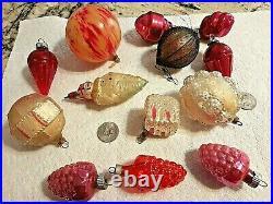 Vintage Shiny Brite Glass Grape Bumpy hand blown snowman Christmas Ornaments lot