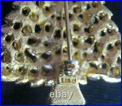 Vintage Signed Christmas Tree Pin, Book Pc Was Lia For Bloomingdale's, Tiny Leaf