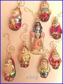 Vintage Snow White and the 7 Dwarfs Glass Hand Blown Christmas Ornaments Set
